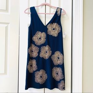 Trina Turk size 2 navy silk sheath NWT
